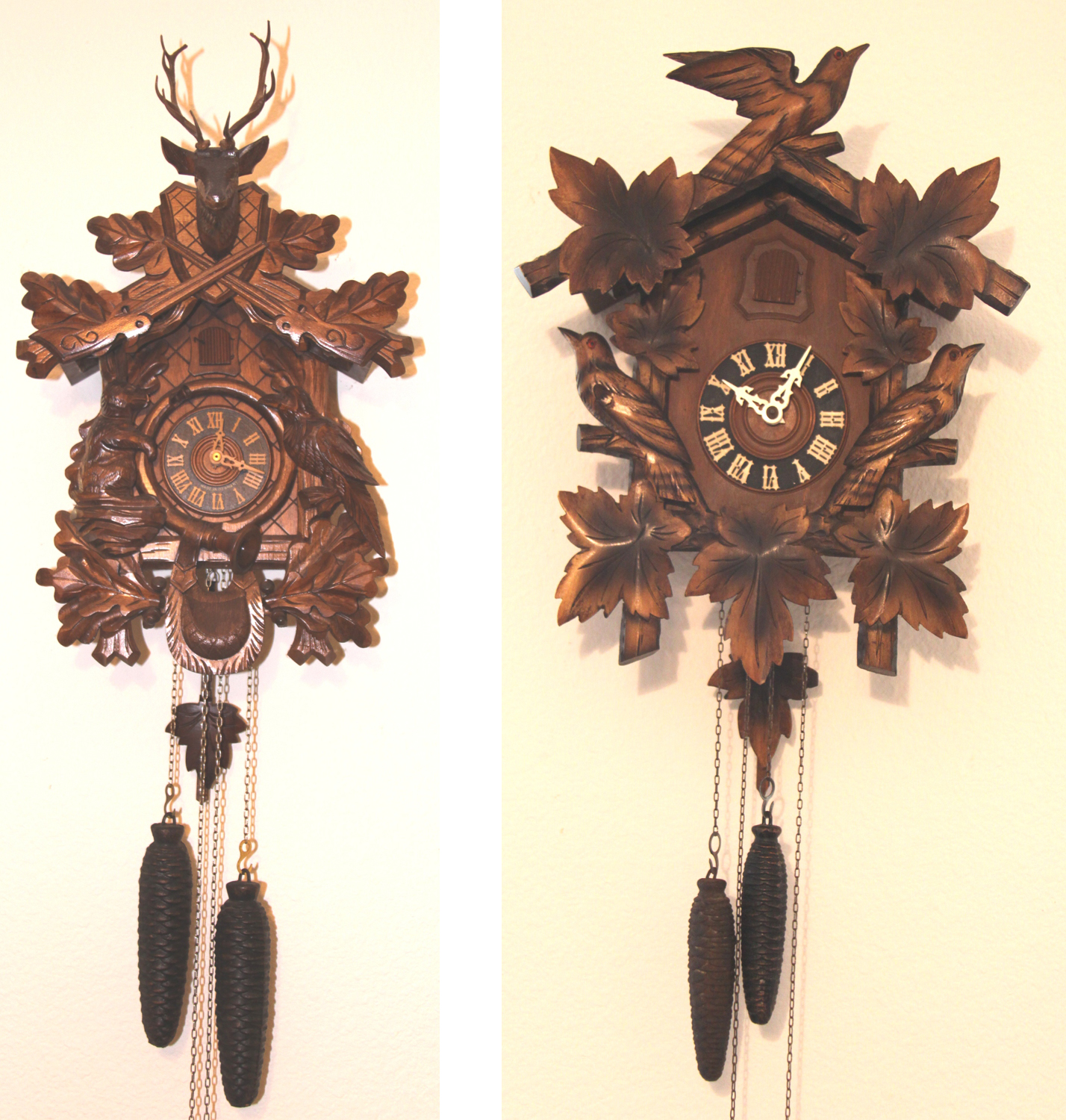 A Pair Of German Black Forest Cuckoo Clocks Due Time